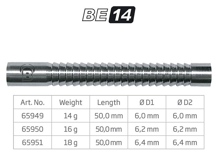 Softdart 80/% Tungsten 3 im Set Gewicht 14g Barrel ohne Schaft und Spitze. L/änge: 50mm Das angegebene Gewicht bezieht Sich nur auf den Barrel