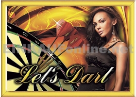EMPIRE Dart-Poster DIN A2 Let´s Dart in Goldline-Rahmen